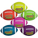 Atomic Athletics 6 Pack of Neon Rubber Playground Footballs – Youth Size 7, 10.5'' Balls with Air Pump and Mesh Storage Bag by K-Roo Sports