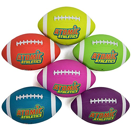 Atomic Athletics 6 Pack of Neon Rubber Playground Footballs – Youth Size 7, 10.5