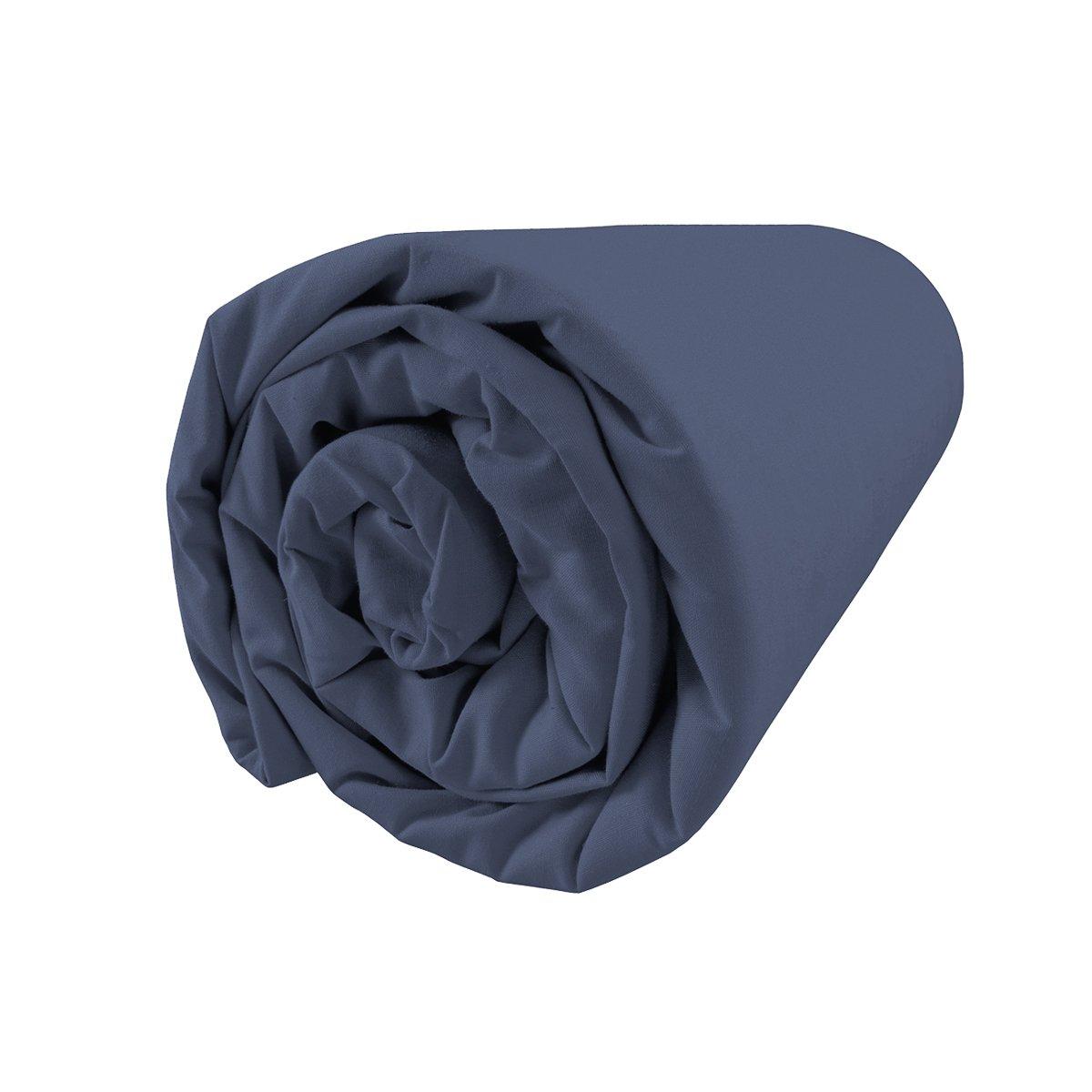 140x200 cm Bleu Nuit Matt /& Rose Drap Housse Coton