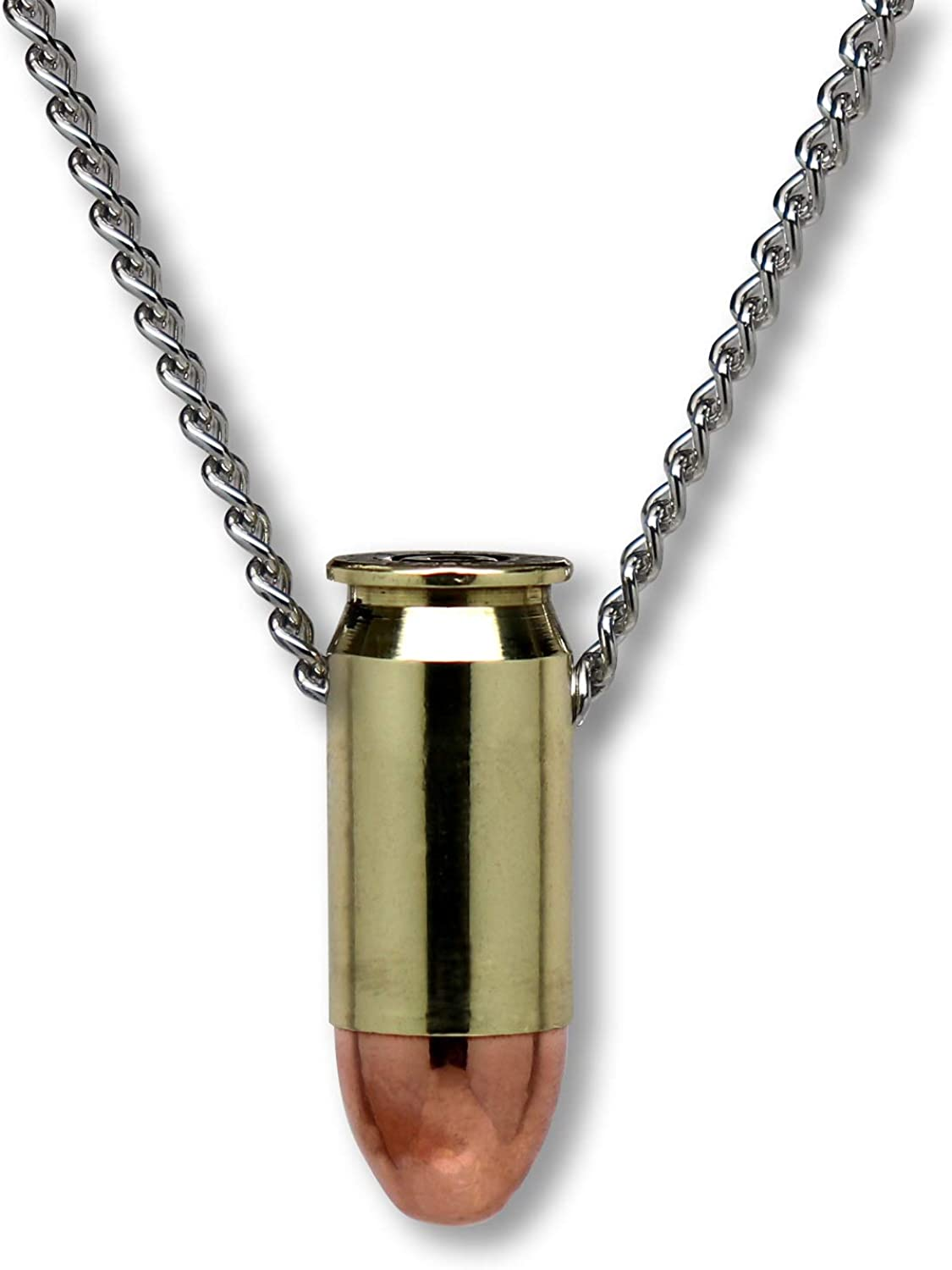 45 Caliber Bullet Necklace Hand Polished Brass and Copper Finish 20 Inch Neck Chain