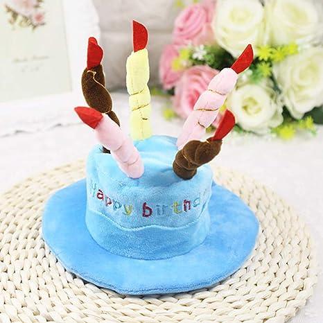 XuBa - Gorro de cumpleaños para Perros y Gatos, Azul, Talla ...