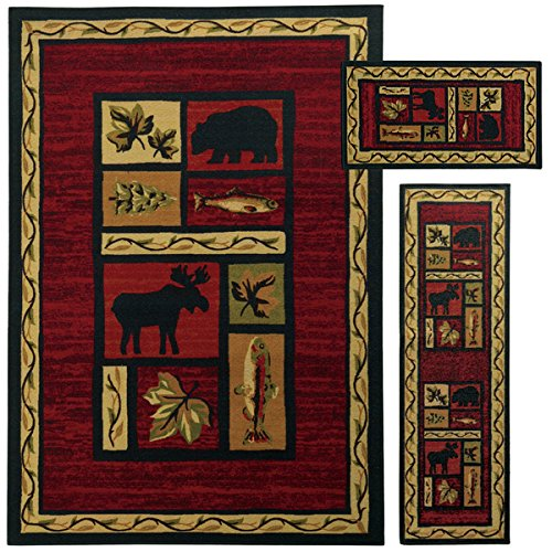 3 Piece Wildlife Bear Moose Fish Area Rug Set with Runner, Hunting Themed Floor Mat, Rustic Lodge Cottage Carpet Pattern, Southwestern Style Cabin Design, Wild Game, Red Brown (Wildlife Cabin)
