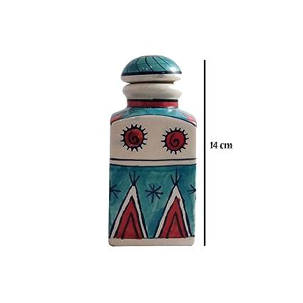 India Meets India - Tarro de cerámica para botellas de corcho hecho a mano con maceta