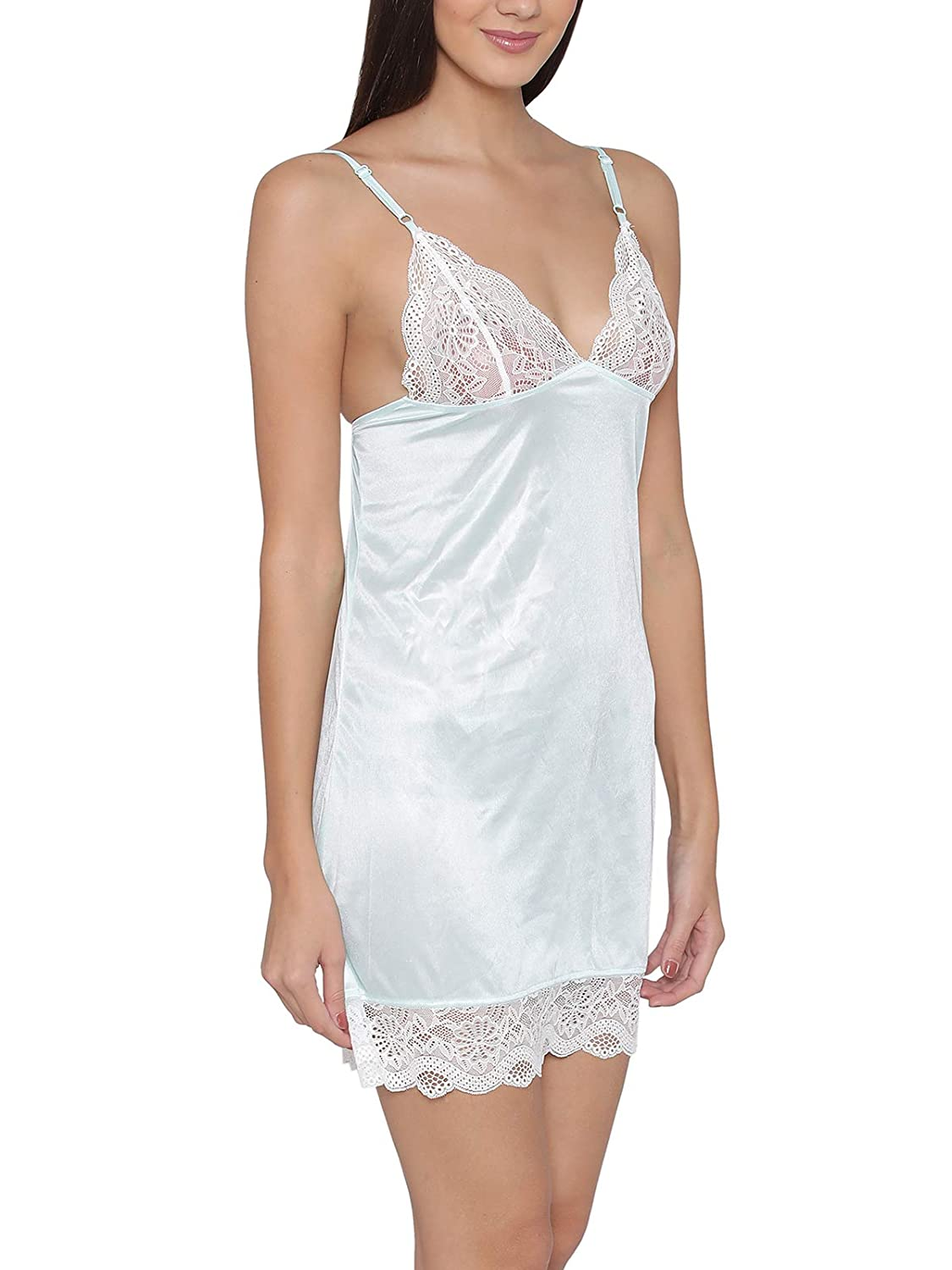 82ad6f0100 Clovia Women s Sky Blue Sexy Short Nightdress (NS0464P03 Blue L)   Amazon.in  Clothing   Accessories
