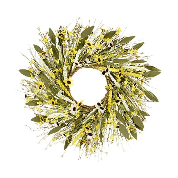 POETIC WREATH F10 Large 21 inch Yellow Daisy White Lavender Grapevine Wreath.Year Round Wreath.Spring Wreath.Summer Wreath.Front Door Wreath.Festival Wreath.Gifts Handmade Wreath.Rustic Wreath