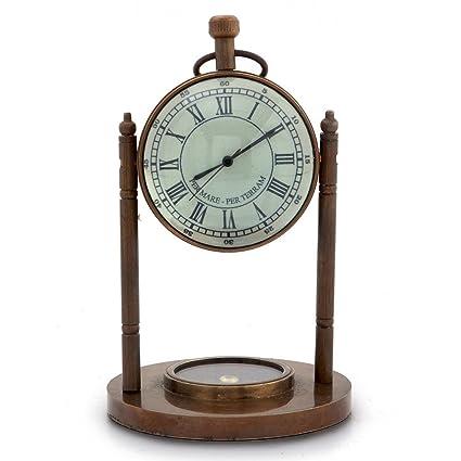 New Year Handicraft Gift Antique Clock n Compass Pure Brass Handicraft 105