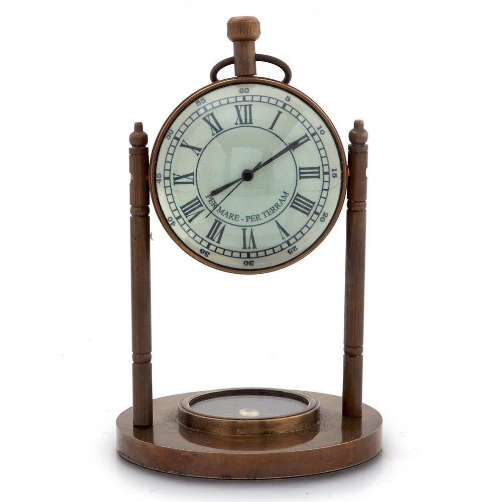 Little India Antique Clock n Compass Pure Brass Handicraft 105