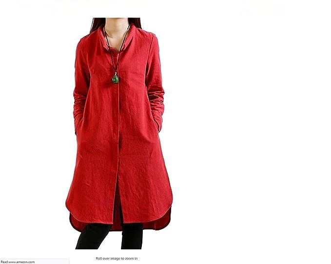 0bb0fda21dca Women s Split Hem Long Sleeve Loose Shirt Dresses Knee-Length-S-XXL ...