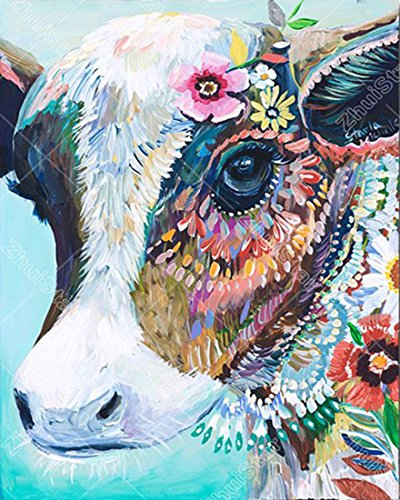 21secret 5D Diamond Diy Painting Full Drill Handmade Beautiful Color Flower Cow Cross Stitch Home Decor Embroidery Kit by 21secret