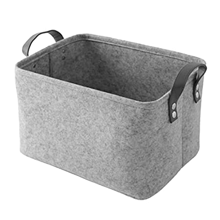 Nibesser felt storage baskets with handles soft durable toy storage nursery bins home decorations light