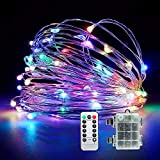 ISWIM 100 LED String Lights Dimmable with Remote Control, Waterproof Decorative Lights for Bedroom, Patio, Garden, Gate, Yard, Parties, Wedding. UL588 and TUVus Approved (Color)
