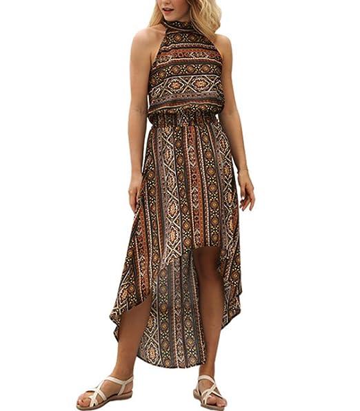 Estampado Floral Boho Beach Maxi Summer Dress Mujeres 2018 Casual V Cuello Vintage Bohemian Sexy Dress