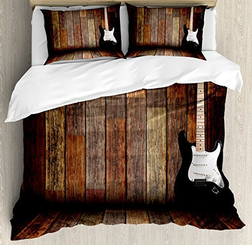 Ambesonne Popstar Party Duvet Cover Set, Electric Guitar in The Wooden Room Country House Interior Music Theme, Decorative 3 Piece Bedding Set with 2 Pillow Shams, Queen Size, White Yellow