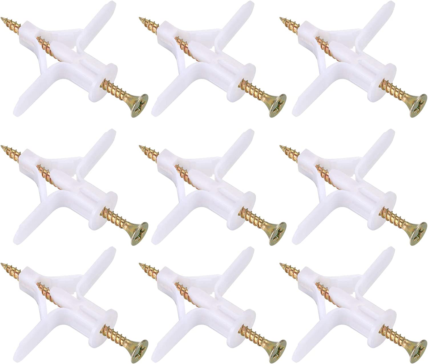 50PCS Plasterboard Wall Plugs Plastic Wall Expansion Tube Anti Rotate Plasterboard Heavy Duty Fixings Plugs with 50 Countersunk Screws Set for TV Wall Brackets