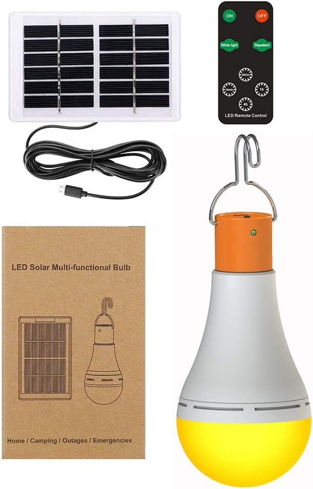 HYacinR Solar Bulbs with Hook, Portable Solar Lights with Remote Control, Outdoor Solar Camping Light with 1800mAh Rechargeable Battery for Chicken Coop, Camping, Hiking, Tent
