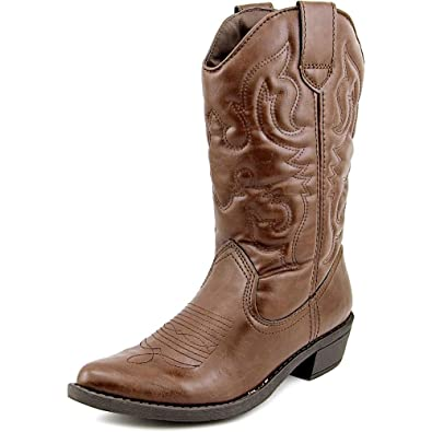Stylish Rampage Valiant Pointed Toe Synthetic Western Boot Brown For Women