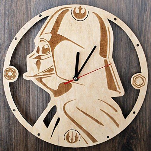 Star Wars Darth Vader Design Real Wood Wall Clock - Eco Friendly Natural Living Room Wall Decor - Creative Gift Idea for Boys and Girls