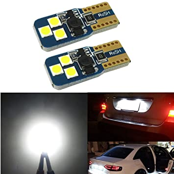 WLJH T10 W5 W LED Bombilla 6000 K Super brillante 8SMD 3030 chip 194 168 2825