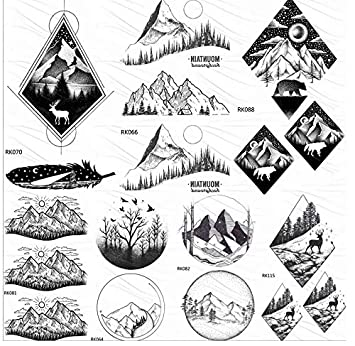 Black Mountain Forest Tatuajes Temporales Negros Para Mujeres ...