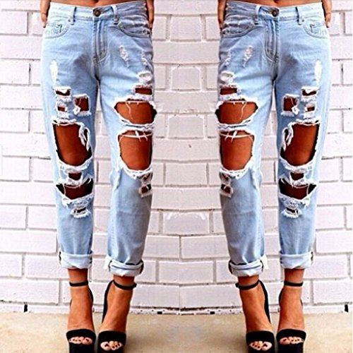 Jeans Donna Ragazze Homyl chaio Eleganti Strappati Leggings Pantaloni Denim blu EgBEdq