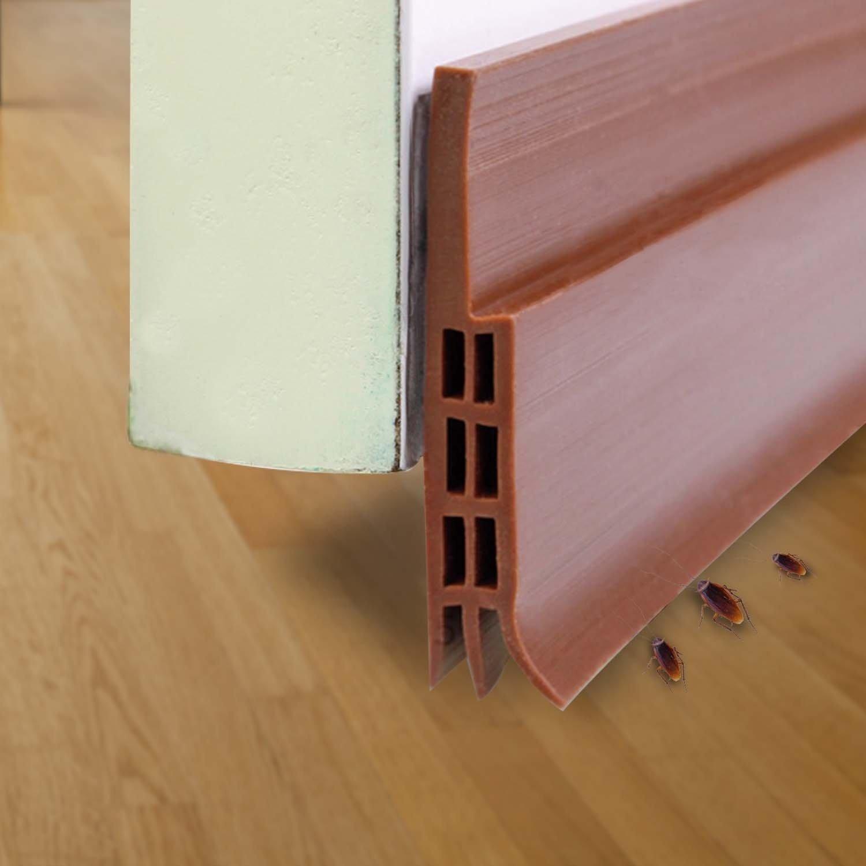 Door Bottom Seal Strip- Under Door Sweep Door Draft Stopper Self-Adhesive Weather Stripping,2