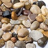 Baker Ross Mini Natural Craft Pebbles (Pack of 1 kg) Matt River Stones For Kids Arts and Crafts