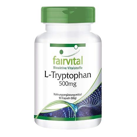 L-triptófano 500mg - GRANEL durante 3 meses - VEGANO - ALTA DOSIS - 90
