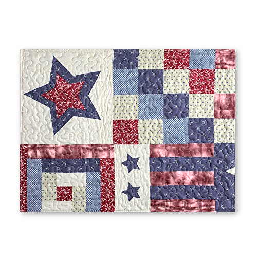 """Collections Etc Patriotic Country Home Americana Quilted Bedding Pillow Sham, 26"""" x 20"""". from Collections Etc"""