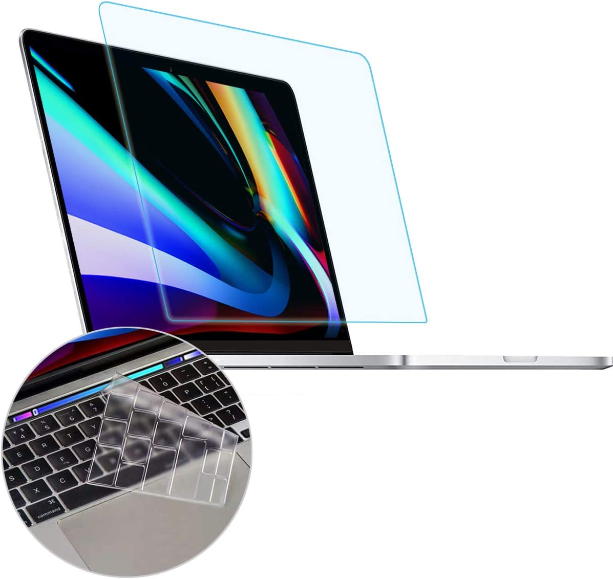 Anti Blue Light Anti Glare Screen Protector fit 2020 2019 MacBook Pro 16 Model A2141 with Touch Bar & Touch ID Bar with Gift Keyboard Cover, Eyes Protection Filter Block UV and Reduce Fingerprint