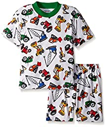 Sara\'s Prints Little Boys\' 2 Piece Relaxed Fit Short Pajama Set, Heavy Loaders/Heavy Loaders, 7