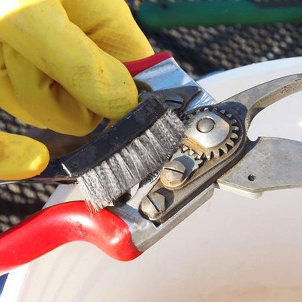 FOGAWA 12Pcs Mini Juego de Cepillos de Alambre Acero Inoxidable Mango Curvo Cepillo de Cerdas de Mamposter/ía para Limpiar Escoria y /óxido de Soldadura