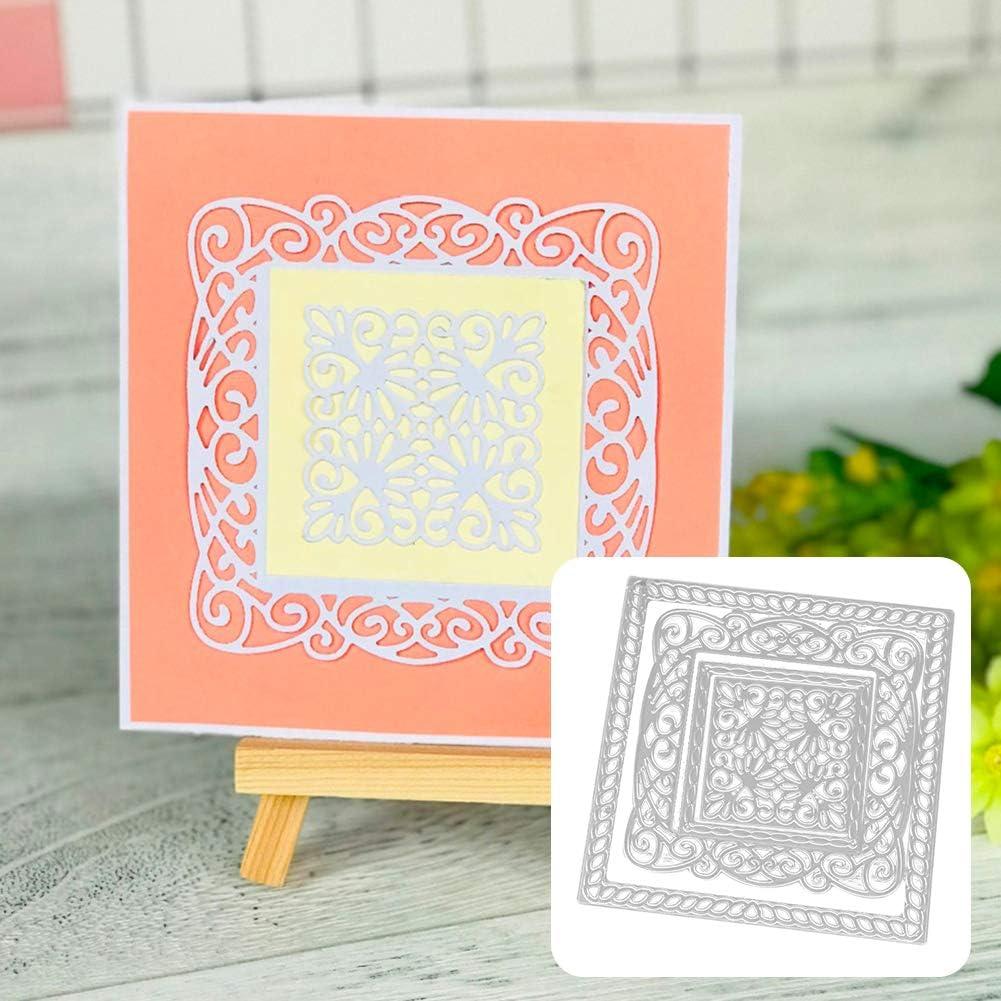 Huhuswwbin Stanzschablone aus Metall Quadratischer Rahmen DIY Stanzform Schablone Scrapbooking Papier Karten Album Craft Dekor Silber