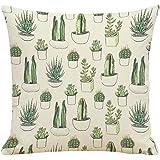 LAAT Funda de Almohada Material de Lino Almohada de sofá y Cama Almohada de la Familia Cactus - Bosquejo de Cactus, 45cm*45cm, No Contiene Almohada