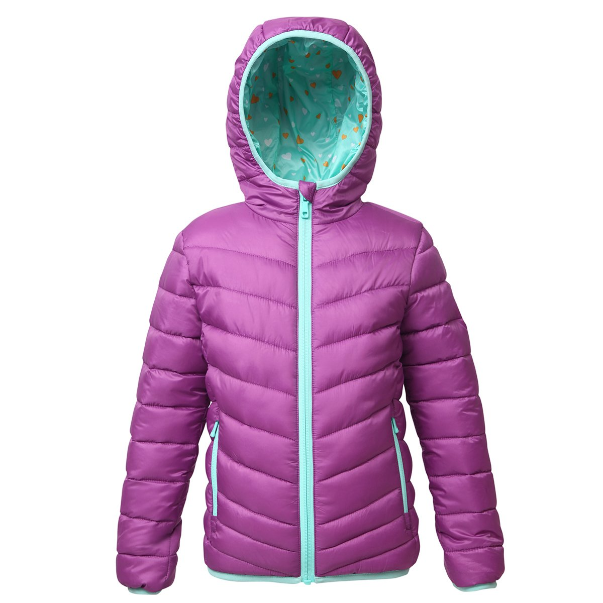 Rokka&Rolla Girls' Lightweight Reversible Water Resistant Hooded Quilted Poly Padded Puffer Jacket Mulberry by Rokka&Rolla