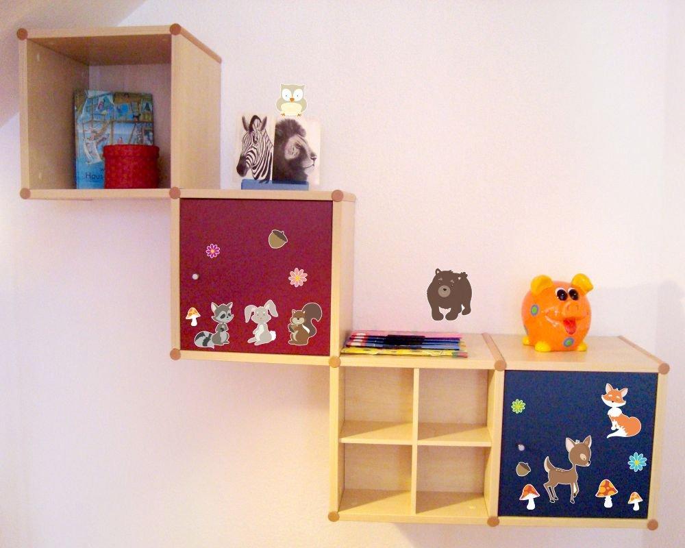 2x16x26cm Mehrfarbig Samunshi/® 17-teiliges Lustige Waldtiere Wandtattoo Set Kinderzimmer Babyzimmer B/är-chen in 5 Gr/ö/ßen