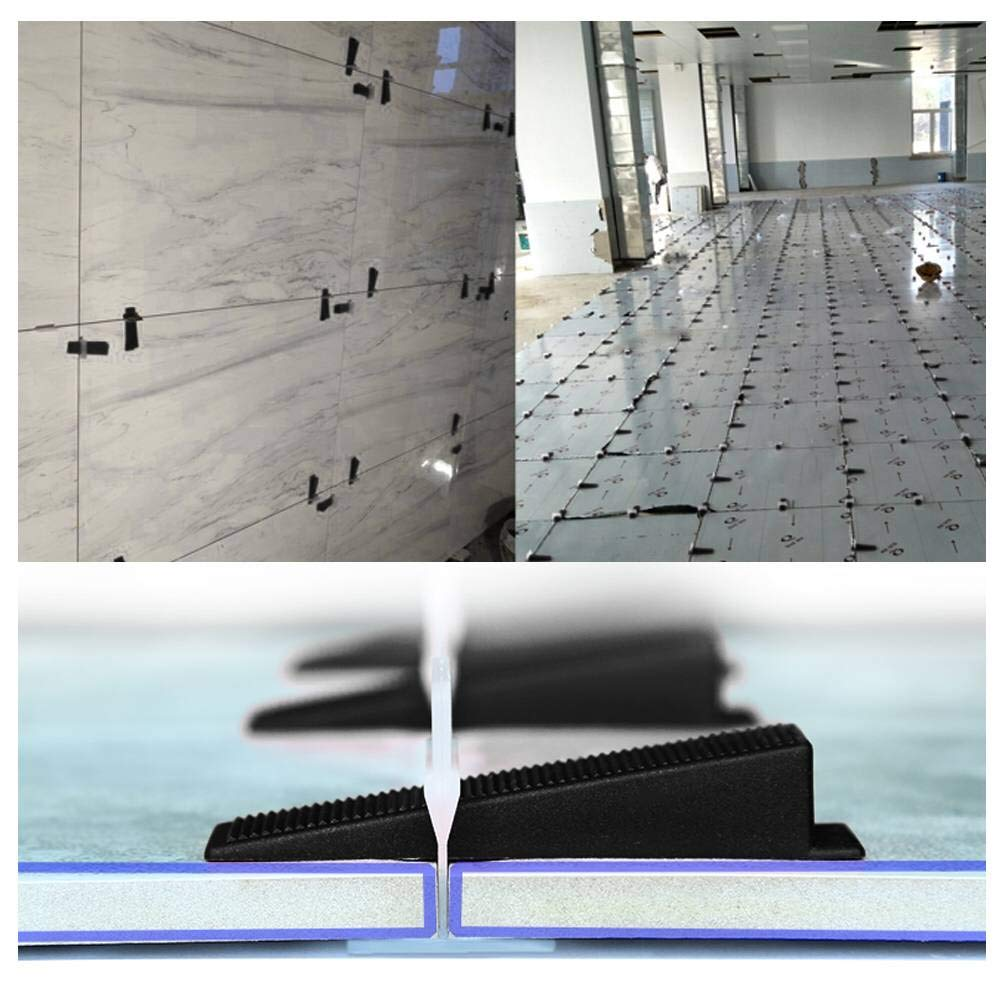 +100pcs Reusable Wedges Upgrade Tile Locator Leveling System White Zppgle Tile Leveler Spacers,300pcs Durable Leveling Spacers Clips for Floors and Walls Tiling 1//16 Black