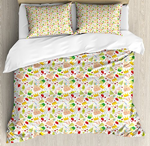 Ambesonne Birthday Queen Size Duvet Cover Set, Doodle Style