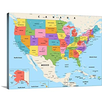 Amazon.com: US Map - Color, Modern Text Canvas Wall Art ...