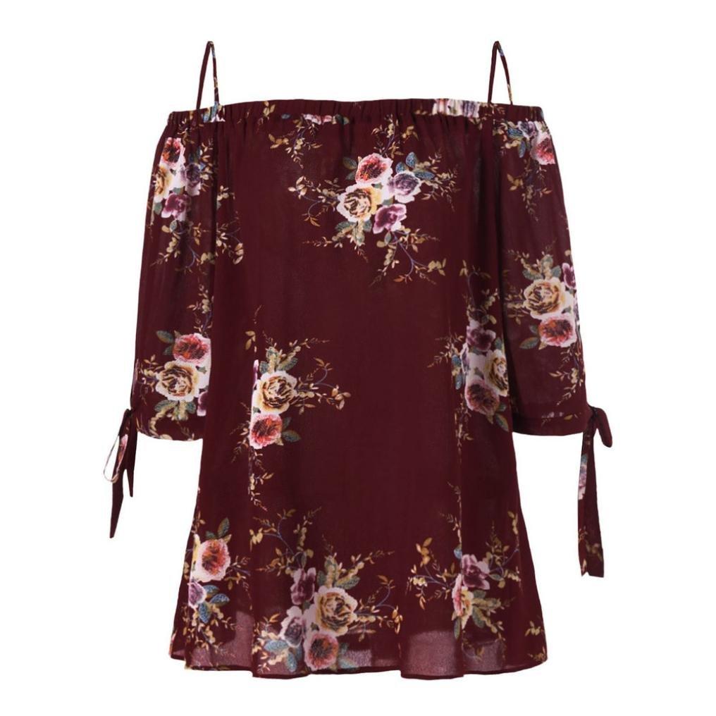 OHQ Camisetas Mujer Verano Blusa Parte Superior del Hombro Estampado Floral Blusa con Hombros Descubiertos Y Estampado Floral De Moda Mujer Elegante Camisetas Tallas Grandes