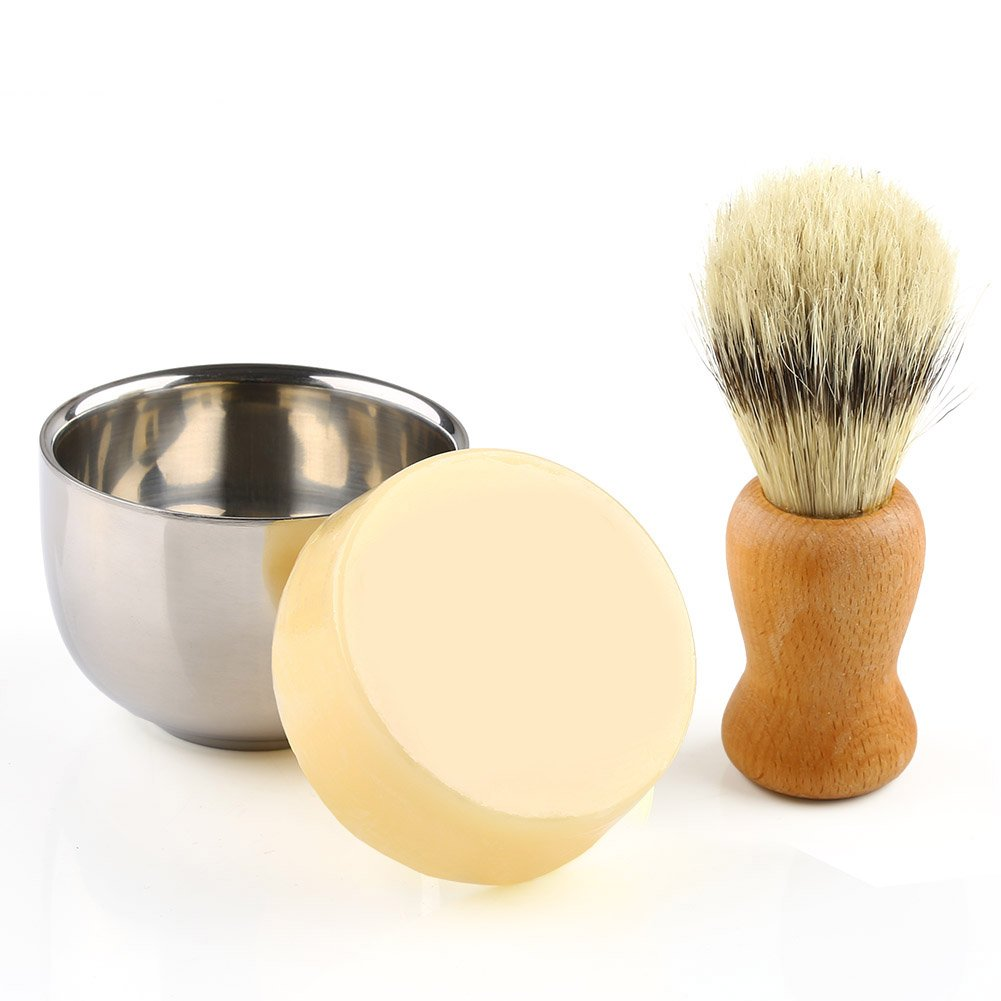 Shaving Set, Anbbas 3pcs Bristle Shaving Brush with Black Resin Handle and 2 Layers Stainless Steel Shaving Bowl, and Goats Milk Soap 100g Traditional Wet-Shave Set