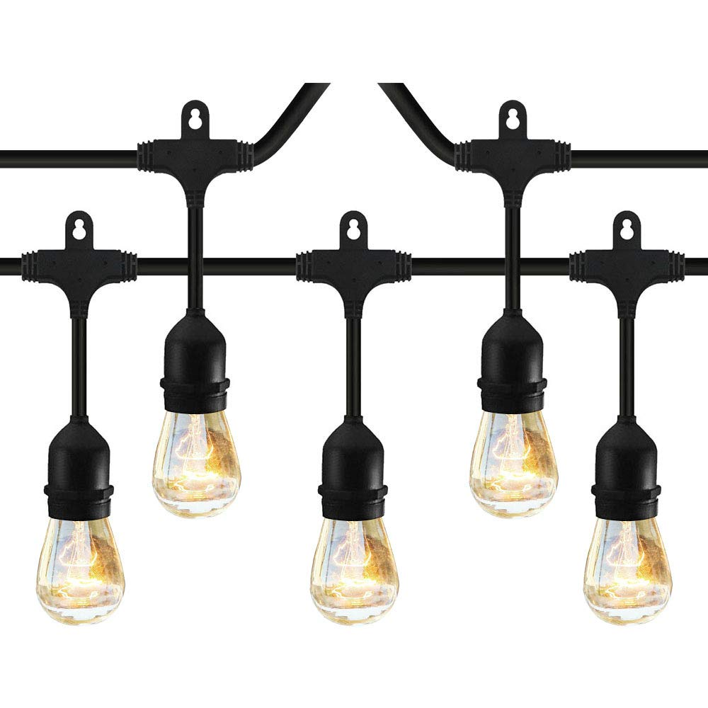 Classyke 2-Pack 48ft Indoor Outdoor String Lights for Patio Garden Yard Deck Cafe Dimmable Weatherproof Commercial Grade [UL Listed] - Incandescent