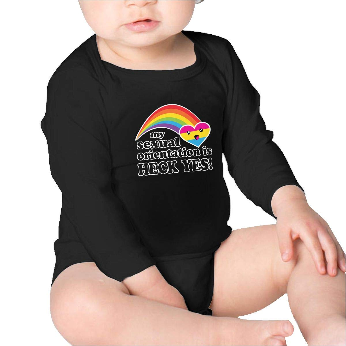 My Sexual Orientation is Heck Yes Pansexual Pride Boys Cotton,Long Sleeve Baby Romper