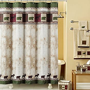 DS BATH Woodland Vintage Bear Shower Curtain,Mildew Resistant Polyester  Fabric Shower Curtain,Lodge