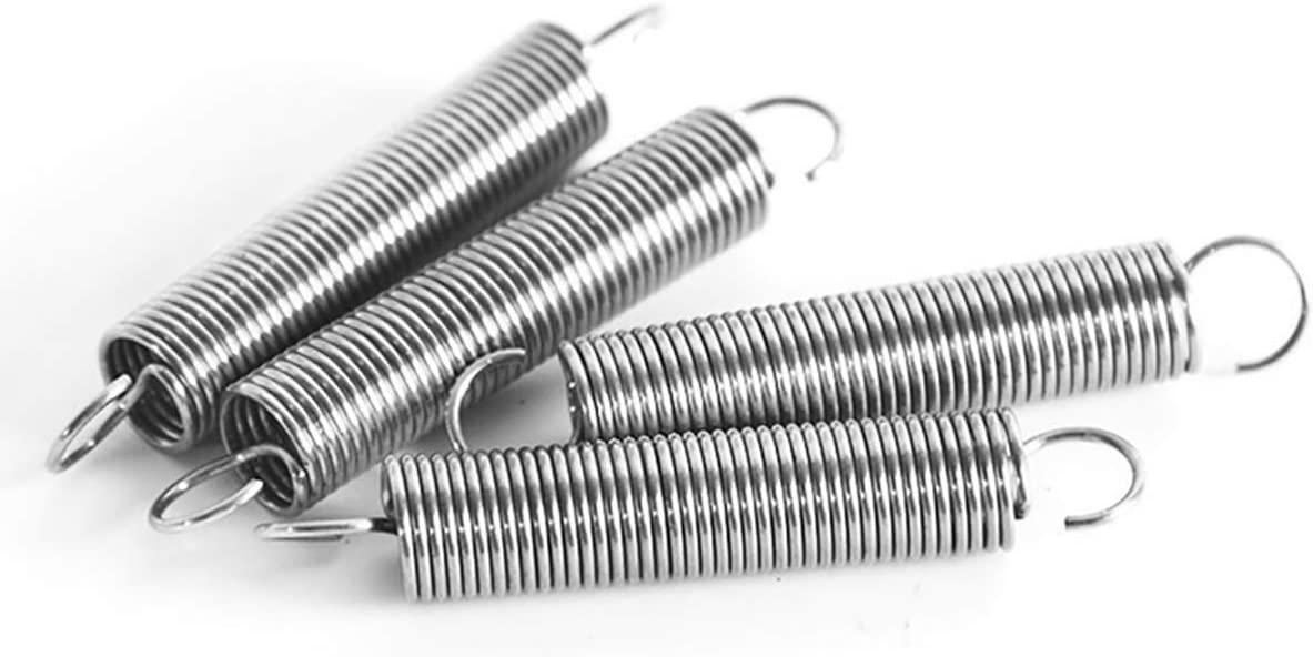 ECYC 10Pcs 304 Stainless Steel Extension Spring with Hook Dia 0.5mm Outer Dia 5mm Length 15-60mm Wire Dual Hook Small Tension Spring