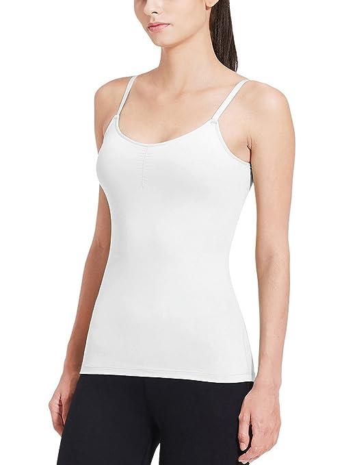 d95051c8a Baleaf Women s Yoga Adjustable Spaghetti Strap Camis Tank Top Built in Shelf  Bra White XL at Amazon Women s Clothing store