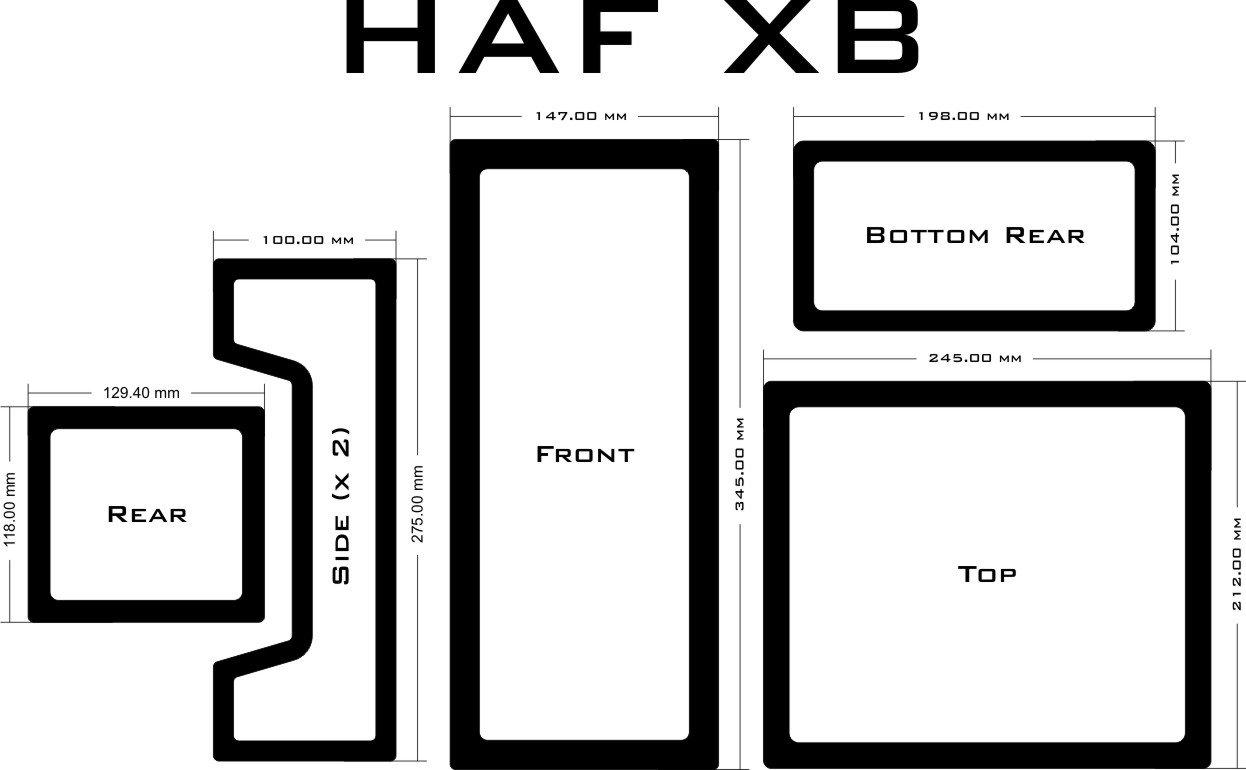 DEMCiflex Dust Filter Kit for HAF XB (5 Filters), Black Frame, Black Mesh