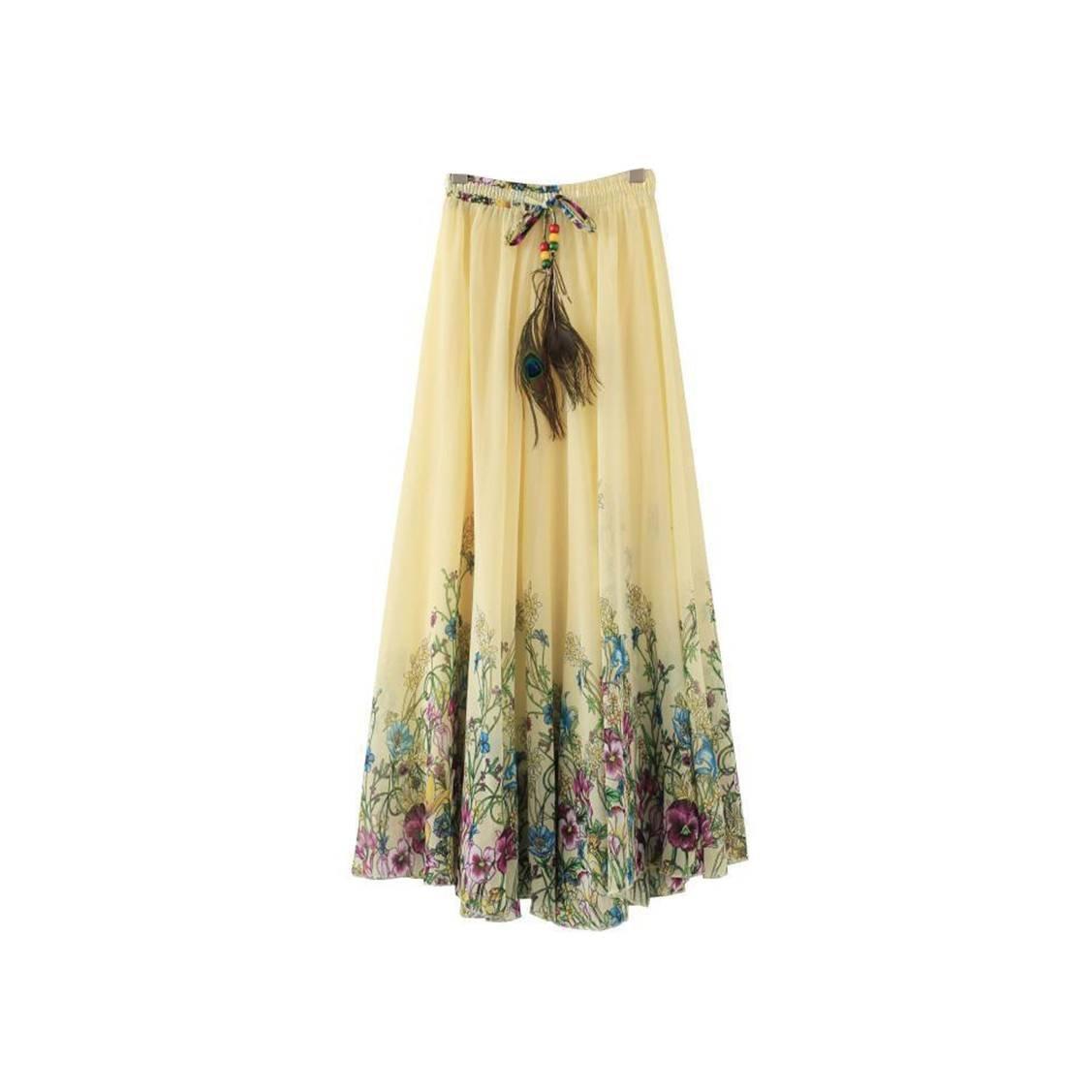 Kaxuyiiy Women's Casual Beach Peacock Feather Maxi Long Pleated Skirt