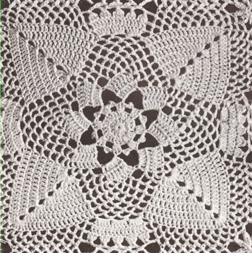 (Vintage Crochet PATTERN to make - MOTIF BLOCK Pinecone Square Design Bedspread. NOT a finished item. This is a pattern and/or instructions to make the item only.)