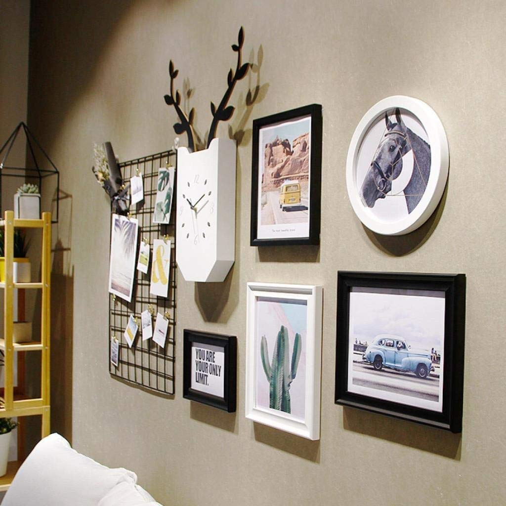 Jjek K Photo Frame Photo Wall Photo Wall Collage Ins Grid Photo Wall Set Living Room Photo Frame Personalized Wall Clock Creative Photo Frame Combination