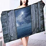 PRUNUS Microfiber Towels Decor Lightning Bolt at Night from Window in A Seaside House Forces of Multipurpose, Quick Drying